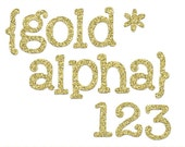 DOLLAR SALE - Gold Glitter Alphabet, glitter alpha clip art images, commercial use- Instant Download