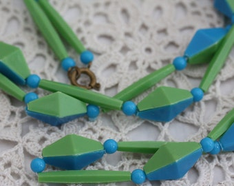 Long Celluloid Necklace - Blue and Green