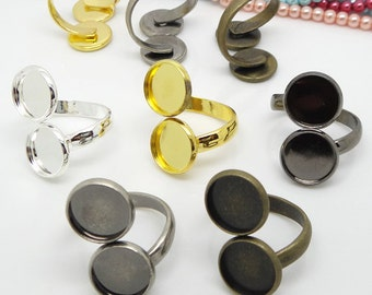50pcs   Metal  Rings with Double 12mm Round Edge Settings