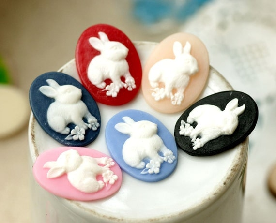 12pcs 18x25mm Resin Rabbit Cabochon Cameo Covers Mixed Colors