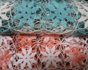 Set of 2 Vintage Large Rectangle Crochet Doilies Turquoise Peach Crocheted