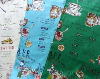 Japanese Cotton Fabric Yuwa, Afternoon Tea, Cafe Decor Fabric, Food Fabric, Cookie Fabric, Vintage Fabric, Cute Fabric/English Cafe/a yard