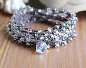 Crystal crochet wrap bracelet, long necklace silver, shabby boho chic, bridesmaids gift, beach, feminine, Bohemian bridal beach jewelry