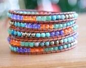 SALE Bohemian beaded leather wrap, gemstone bracelet, turquoise, orange, pyrite, agate, jade, vintage button, hipster, gift idea