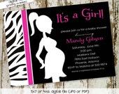 baby girl shower invitation zebra hot pink mother silhouette maternity couples shower baby sprinkle bash (item 1355) shabby chic invitations