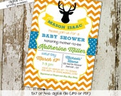 baby boy shower invitation deer silhouette chevron sprinkle diaper couples coed birthday gender reveal (item 12108) shabby chic invitations