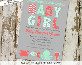 under the sea ocean invitation baby girl shower mint green coral baby sprinkle octopus whale crab diaper (item 1374) shabby chic invitations
