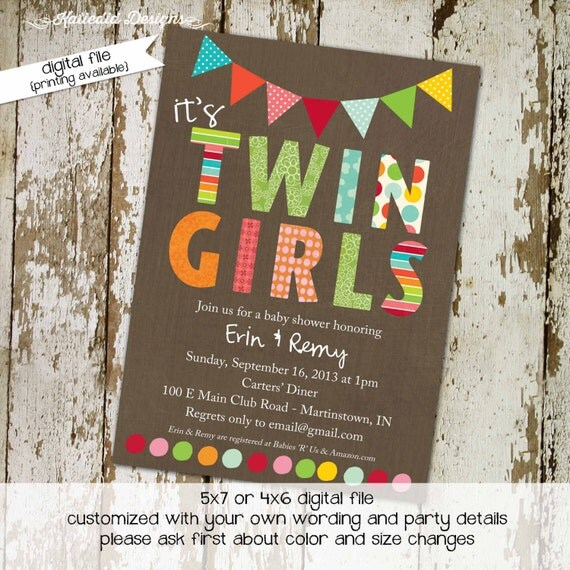 twin girl baby shower invitation bunting banner rainbow sip and see baby sprinkle birthday diaper couples (item 1510) shabby chic invitation