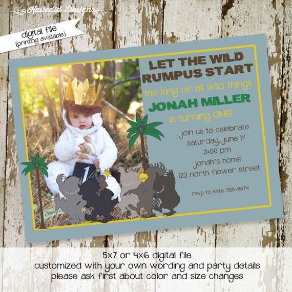 Where the wild things are invitations birthday baby boy shower invitation photo birth announcement bash (item 272) shabby chic invitations