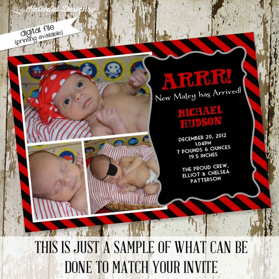 pirate birth announcement or baby announcement or baby shower invitations, digital, printable file (item 405)