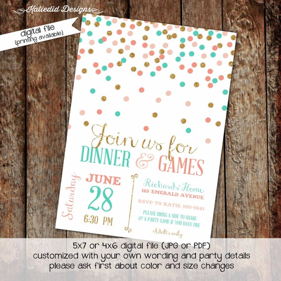 Couples Bridal Invitation little girl 1st birthday invitation coed baby shower diaper wipe brunch coral gold aqua confetti 309 Katiedid Card