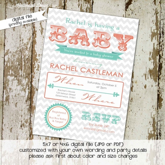 gender reveal invitation chevron baby shower gender neutral twins couples diaper coed typography coral (item 1403) shabby chic invitations