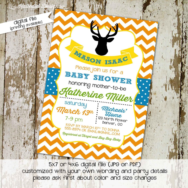 baby boy shower invitation deer silhouette chevron sprinkle