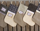 Family Christmas stockings, Personalized. Black, white, cream, gray