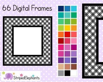 Gingham Square Digital Frames - Clip Art Frames - Instant Download - Commercial Use