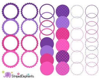 Purple and Pink Digital Frames - Clip Art Frames - Instant Download - Commercial Use