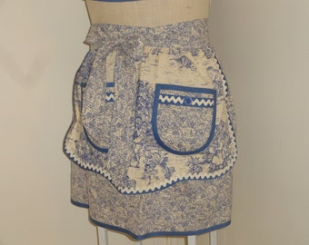 Mommy and Me matching French toile half aprons with pockets, rick rack and bias trim in Blue and Ivory