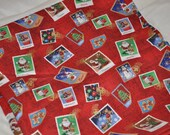 Christmas Fabric with Santa/Christmas Stamps with Sparkly Gold Post Stamp Christmas Material 1 Yard 20 Inches