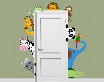 Jungle Safari Animal Decal Peeking Door Hugger Nursery Wall Decal