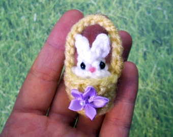 One Tiny Custom Easter Basket with Bunny or Chick Mini Plushie - Choose bow or flower