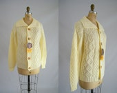 Vintage 1970s Fisherman Sweater / Cream Cable Knit Sweater / Tags Attached