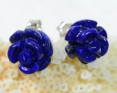 Lapis Lazuli Carved Rose Studs Earrings Natural stone earrings Birthstone Jewelry