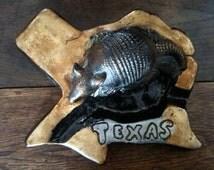 Vintage American Texas Armadillo ashtray handmade circa 1970's /  English Shop