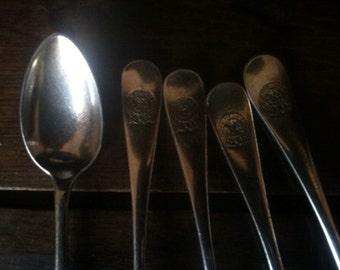 Vintage German 5 Nord Deutscher Lloyd Bremen Spoons Cutlery Flatware Silverware circa 1950's / English Shop