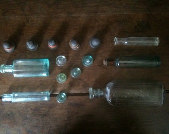 Vintage English Mixed Glass Bottles and Stoppers Potions Medicines Job Lot Collection circa 1900-1930's / English Shop