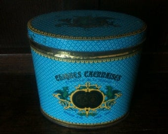 Vintage Confiseur Lambert Blue and White Tin Box / English Shop