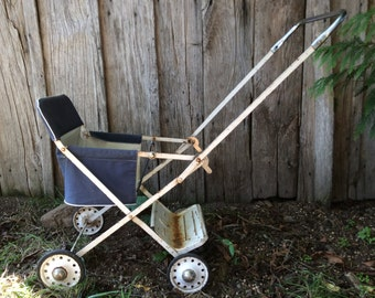 Vintage French navy blue toddler or doll stroller carriage pushchair pram circa 1950's / English Shop