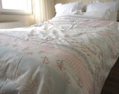 Pastel pale blue pink mint green floral damask print cotton Duvet cover -Cal King -Queen Double Full ROMANTIC- twin xl shabby chic bedding