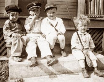 Little Boys Card - Four Boys Sit on Porch - Repro Vintage Photo