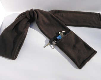 Zipper Pocket Fleece Scarf for Men and Women in Dark Brown with or without fringe