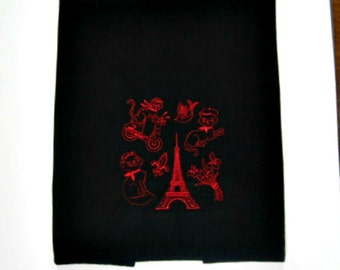 Black hand towel, red work Paris theme