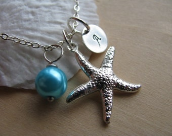 Bridesmaid Jewelry Blue Pearl Bridesmaid Necklaces Hand Stamped Initial Monogram Starfish Wedding Jewelry
