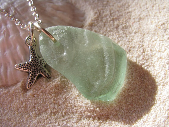 Sea Glass Jewelry Starfish Aqua Sea Glass necklace Seafoam Green Beach Glass Pendant Coca Cola
