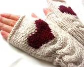 Fingerless Wool Gloves with a heart, Mittens, Arm Warmers , Hand Knitted, Eco Friendly, Valentines Day