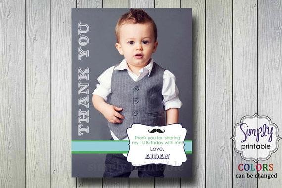 Thank You Card Little Man Bowtie & Mustache