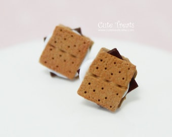 S'mores Stud Earrings - Miniature food jewelry - Hypoallergenic Surgical Steel