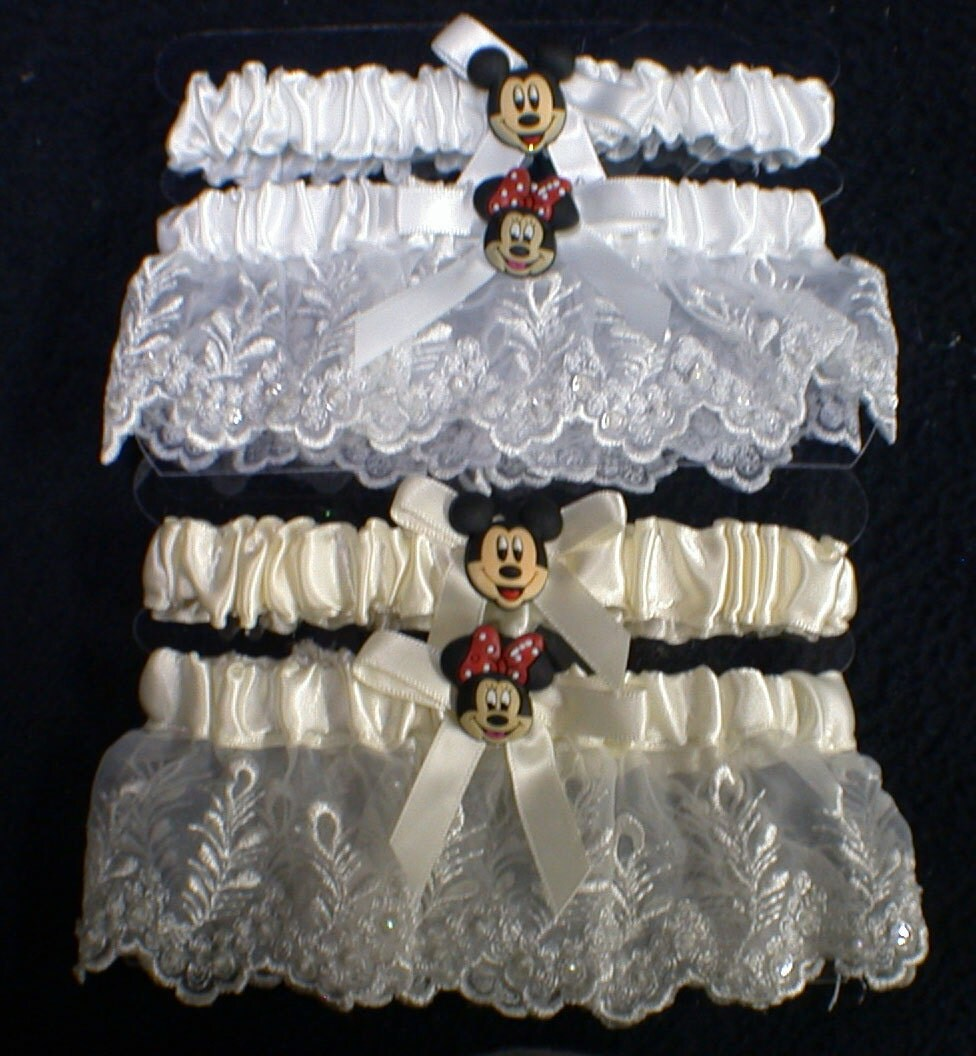 mickey mouse pen disney wedding bands DISNEY Mickey Minnie Mouse Wedding Garter Arm band lot small to large adjustable White or Ivory