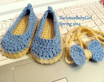 NEW - Buggs - Crochet Baby Espadrille Wedge Shoes and Bow Headband in Cotton Yarn - Denim Blue