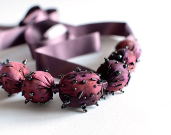 Buble pink silk necklace , hand painted silk necklace - Textile jewelry OOAK ready to ship