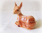 French Tureen Baby Roe Deer Fois Gras Terrine CAUGANT Faience Pate