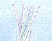 FROZEN Birthday Party Paper Straws - Set of 25 Straws - Aqua, Purple and Silver - First Birthday