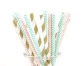 Gold, Pink and Dark Mint/Aqua Green Chevron Paper Straws - Set of 25 Straws - Girl's Birthday Party - First Birthday