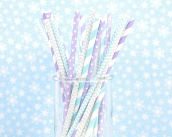 Silver, Purple and Blue Birthday Party Paper Straws - Winter Birthday - Winter ONEderlansd - Set of 25 Straws - Aqua, Purple and Silver