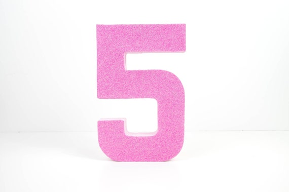 Pink Glitter Number 5 Fifth Birthday 5th Birthday Party