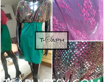 Sequin dress, pink, green LULU DRESS