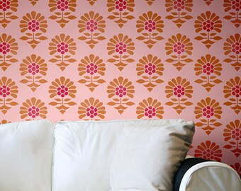 Indian Flower Allover Wall Stencil for Allover Wallpaper Look